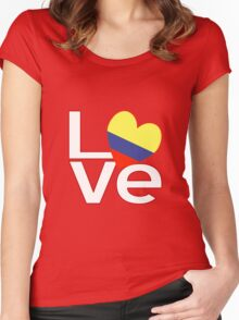 White Red Colombia LOVE Women's Fitted Scoop T-Shirt