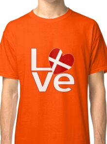 White Red Danish LOVE Classic T-Shirt