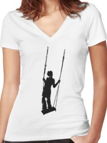 Pixel Swing Women's Fitted V-Neck T-Shirt