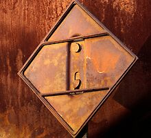 Triangle in Rust, Train Hazard Placard  by Larry3