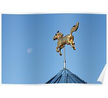 Golden Horse and Moon Poster