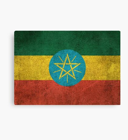 Old and Worn Distressed Vintage Flag of Ethiopia Canvas Print