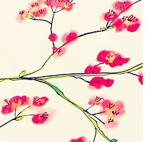 Pink red cherry blossoms painting by zhangart
