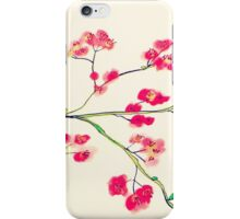 Pink red cherry blossoms painting iPhone Case/Skin
