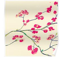 Pink red cherry blossoms painting Poster