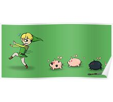 The Pigs Chasing Link Poster