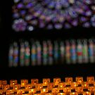 Cathedral Candles and Stained Glass    by Pamela Maxwell