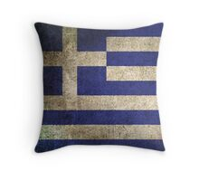Old and Worn Distressed Vintage Flag of Greece Throw Pillow