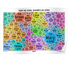 Top US Girl Names in 1939 - White Poster