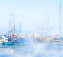 Fog On The Harbor - Old Fisherman's Wharf - Monterey by Mark Tisdale