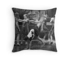 Girls Playing in Puddles Throw Pillow
