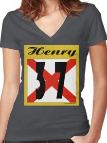 ALABAMA:  37 HENRY COUNTY Women's Fitted V-Neck T-Shirt