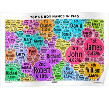 Top US Boy Names in 1945 - White Poster
