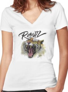 Tiger Rawr Women's Fitted V-Neck T-Shirt