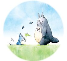 Totoro with butterflies #2 by LaraFrizzell