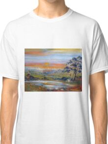 The sun sets in the west along the Lancefield-Woodend Road Classic T-Shirt