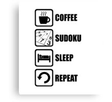 Coffee Sudoku Sleep Repeat Canvas Print