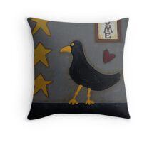 Primitive Blackbird Throw Pillow