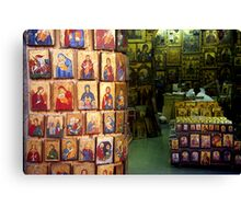 Shop with icons Canvas Print