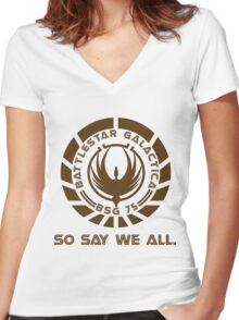 Battlestar Galactica Seal Women's Fitted V-Neck T-Shirt