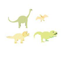 Diplodocus, Pterodactyl,Pterodactyl and T-Rex by JoshCooper