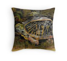 Backyard Turtle Throw Pillow