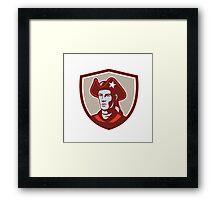 American Patriot Minuteman Head Crest Retro Framed Print