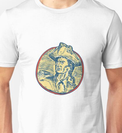 American Patriot Side Circle Etching Unisex T-Shirt
