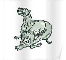 Greyhound Dog Racing Side Etching Poster