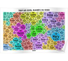 Top US Girl Names in 1959 - White Poster
