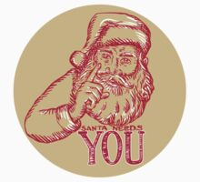 Santa Claus Needs You Pointing Etching by patrimonio