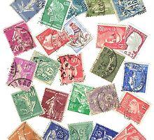 Vintage France Postage Stamp Collage by bluespecsstudio