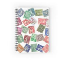 Vintage France Postage Stamp Collage Spiral Notebook