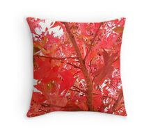 red and green leaved tree Throw Pillow