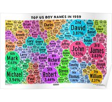 Top US Boy Names in 1959 - White Poster