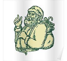 Santa Claus Pointing Side Etching Poster