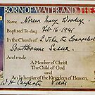 1941 Christening Certificate by Woodie