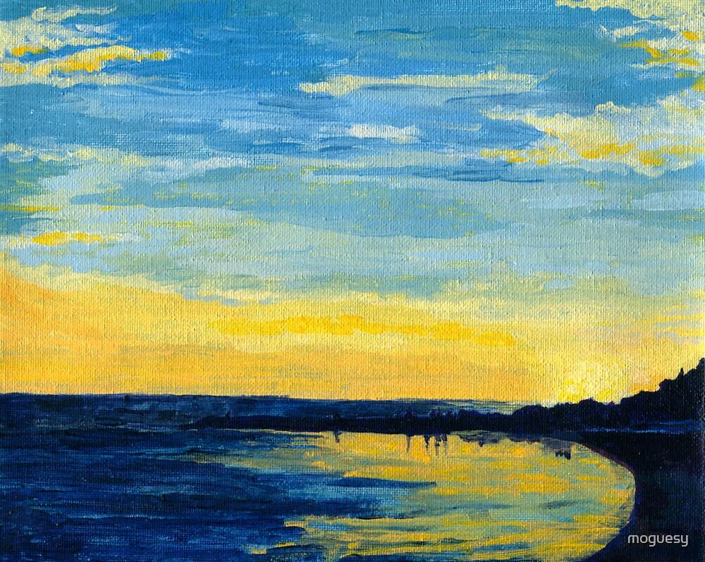 sunset beach in okinawa by moguesy
