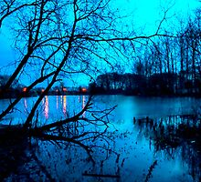 Dusk On Frozen Lake. by Sue Smith