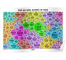 Top US Girl Names in 1963 - White Poster