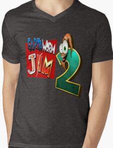 Earthworm Jim - EWJ2 Logo Mens V-Neck T-Shirt