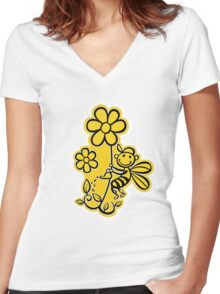 Watering Beesty Women's Fitted V-Neck T-Shirt