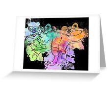 Watercolor Indominus Rex (Black) Greeting Card