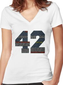 Hitchhiker's Guide 42 Quotes Women's Fitted V-Neck T-Shirt