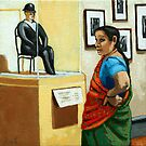 Cultural View - woman portrait @ art museum by LindaAppleArt