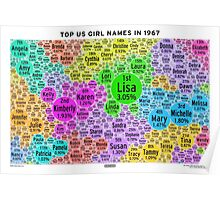 Top US Girl Names in 1967 - White Poster