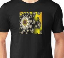 Black and White Floral Fractal with Gold and Green Unisex T-Shirt