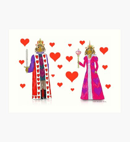 Tiger King and Queen of Hearts Art Print