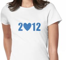 2012 Heart - Blue Bold Womens Fitted T-Shirt