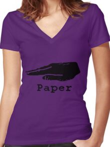 Rock Paper Scissors T-shirt (PAPER) Women's Fitted V-Neck T-Shirt